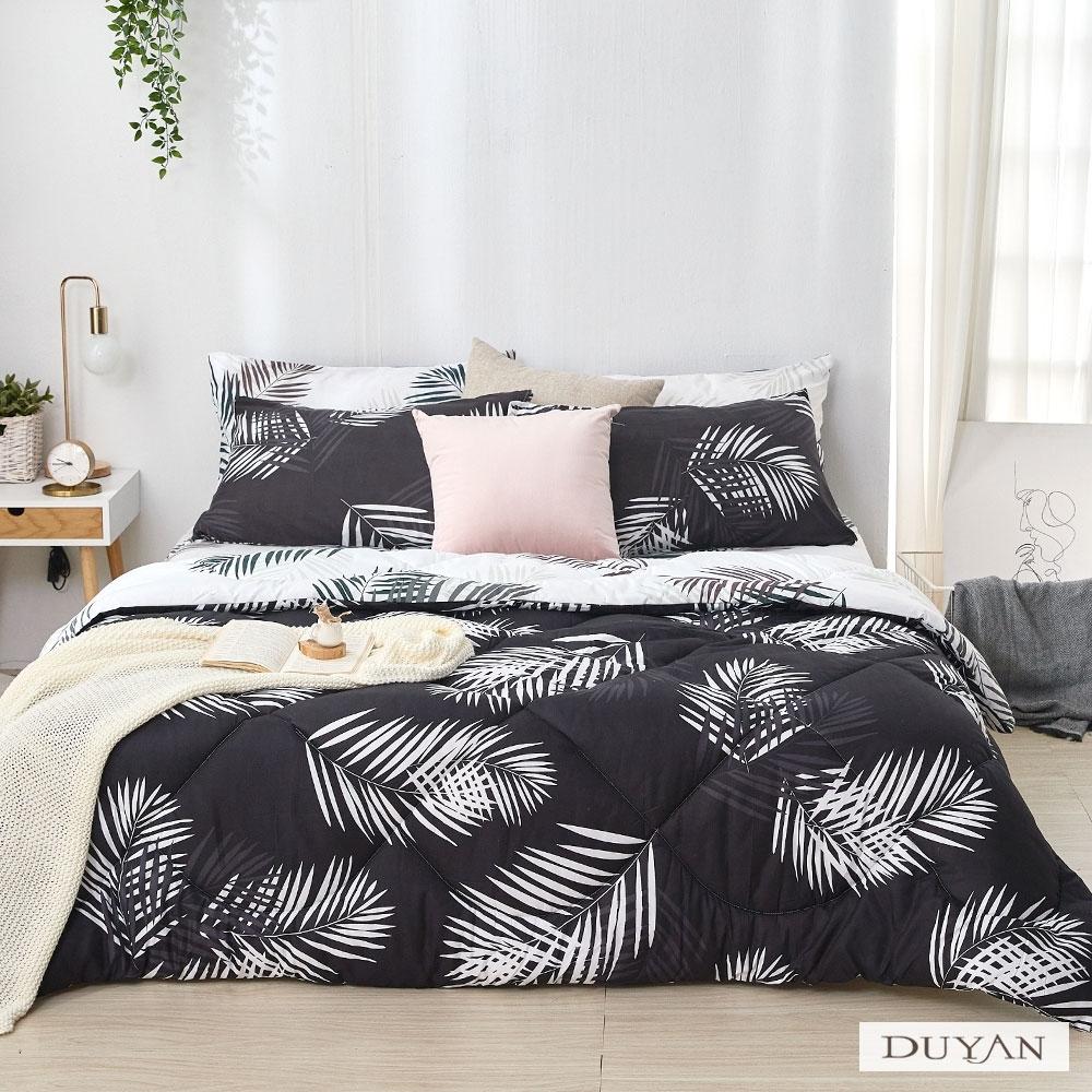 DUYAN竹漾-舒柔棉-雙人床包組+可水洗羽絲絨被-夜語森林
