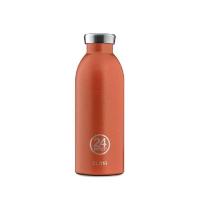 義大利 24Bottles 不鏽鋼雙層 保溫瓶 500ml - 夕陽橘