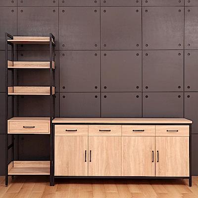 D&T德泰傢俱格萊斯原切木輕工業風中抽展示架+6尺餐櫃-241.3x45.3x196cm