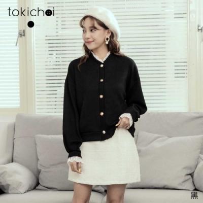 東京著衣 氣質名媛拼接蕾絲造型釦針織上衣