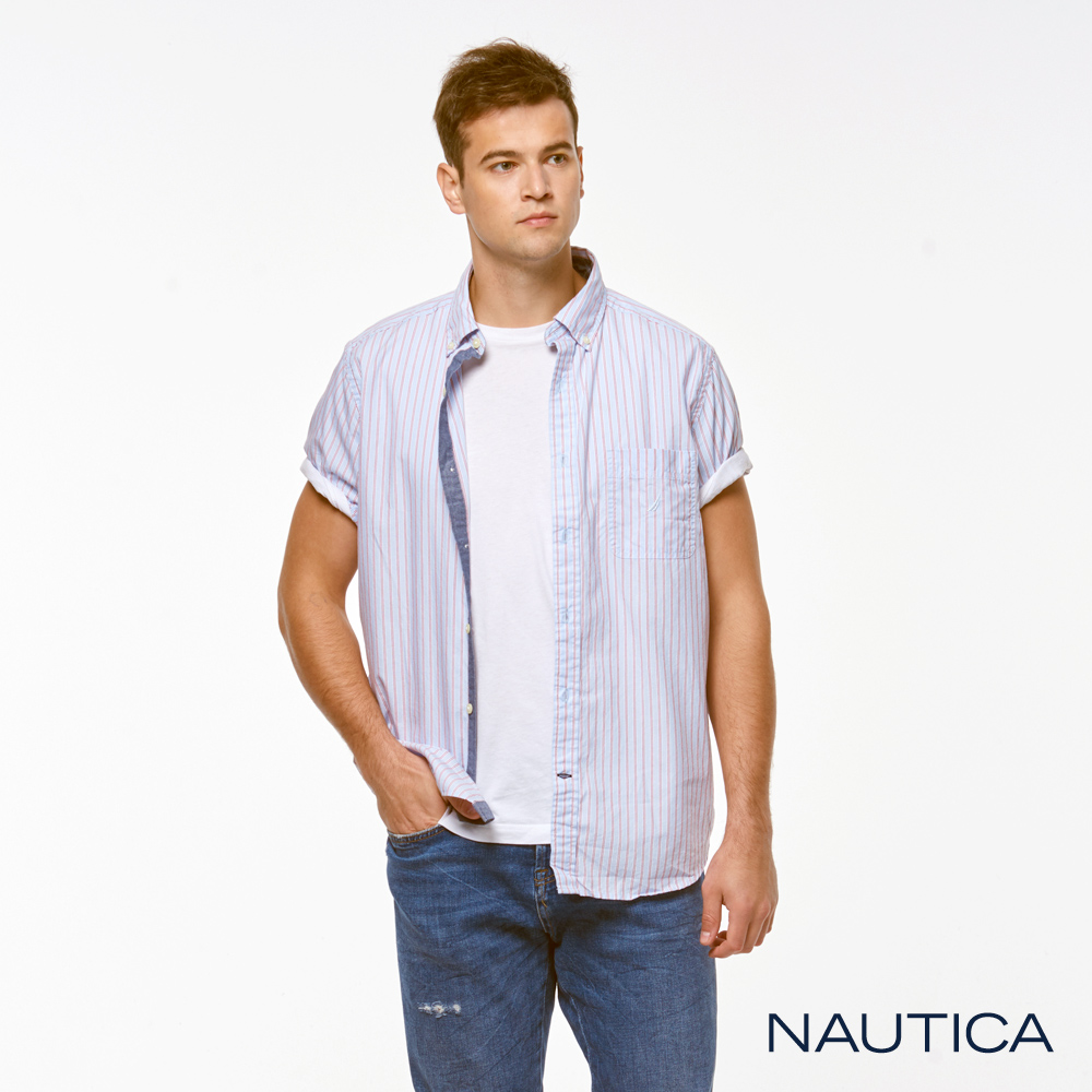 Nautica簡約時尚條紋短袖襯衫-藍
