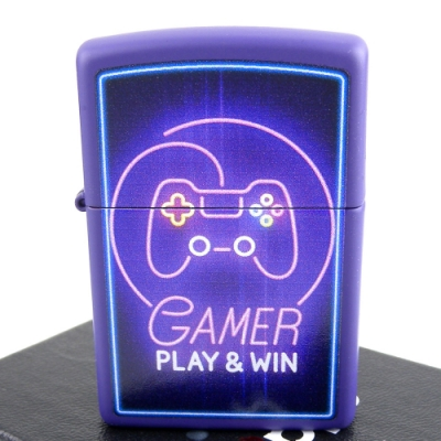 ZIPPO 美系~Gamer-霓虹燈搖桿圖案設計打火機