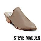STEVE MADDEN-GENIE素面尖頭粗跟穆勒鞋-灰色