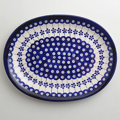 【波蘭陶 Zaklady】 藏青小卉系列 橢圓形餐盤 29cm 波蘭手工製