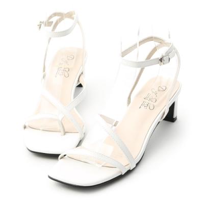 D+AF 獨特風尚.不對稱設計中跟涼鞋*白