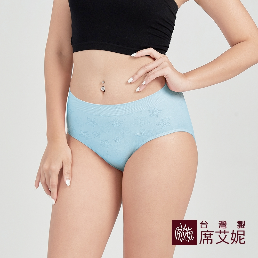 席艾妮SHIANEY 台灣製造 超彈力內褲緹花織紋 竹炭褲底 舒適抗菌-水色