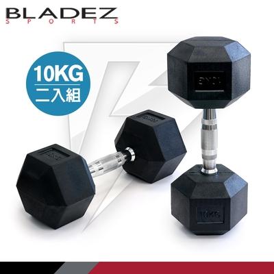 【BLADEZ】六角包膠啞鈴-10KG(二入組)