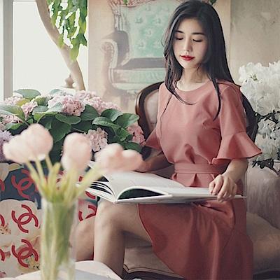 【AIRKOREA正韓空運】 火烈鳥絲帶連衣裙