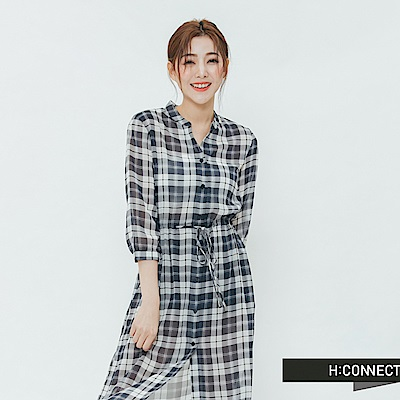 H:CONNECT 韓國品牌 女裝-排扣格紋綁結洋裝-藍