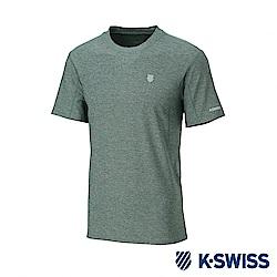 K-SWISS  PF Melange Tee排汗T恤-男-綠