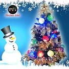 摩達客 繽紛2尺(60cm)經典裝飾綠色聖誕樹(金銀系)+20燈LED藤球燈串(插電式)