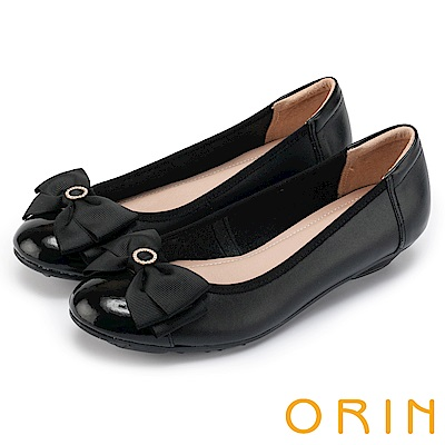 ORIN 甜美輕柔 織帶蝴蝶結真皮娃娃鞋-黑色