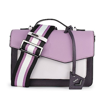 botkier Cobble Hill 拼接撞色防刮皮革手提/斜背二用風琴包-粉紫/深紫