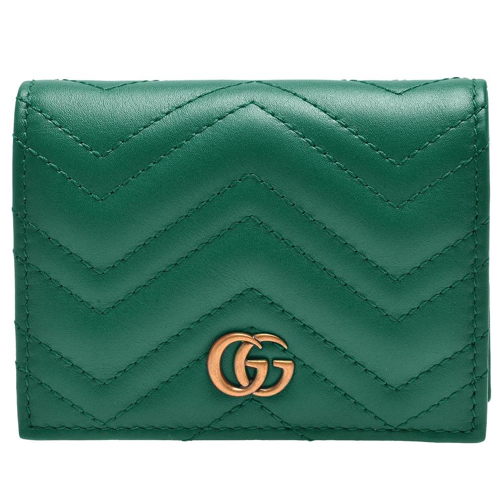 GUCCI GG Marmont系列絎縫紋牛皮金屬雙G LOGO暗釦卡夾/零錢包(翡翠綠)