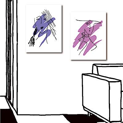 美學365 兩聯式直幅掛畫無框畫-優美女人30x40cm
