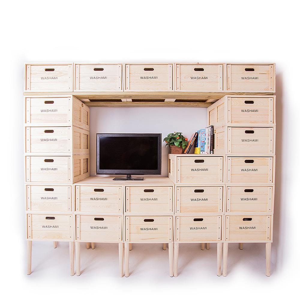 WASHAMl-小工匠萬用松木創意工業風併接箱-廚櫃22件組