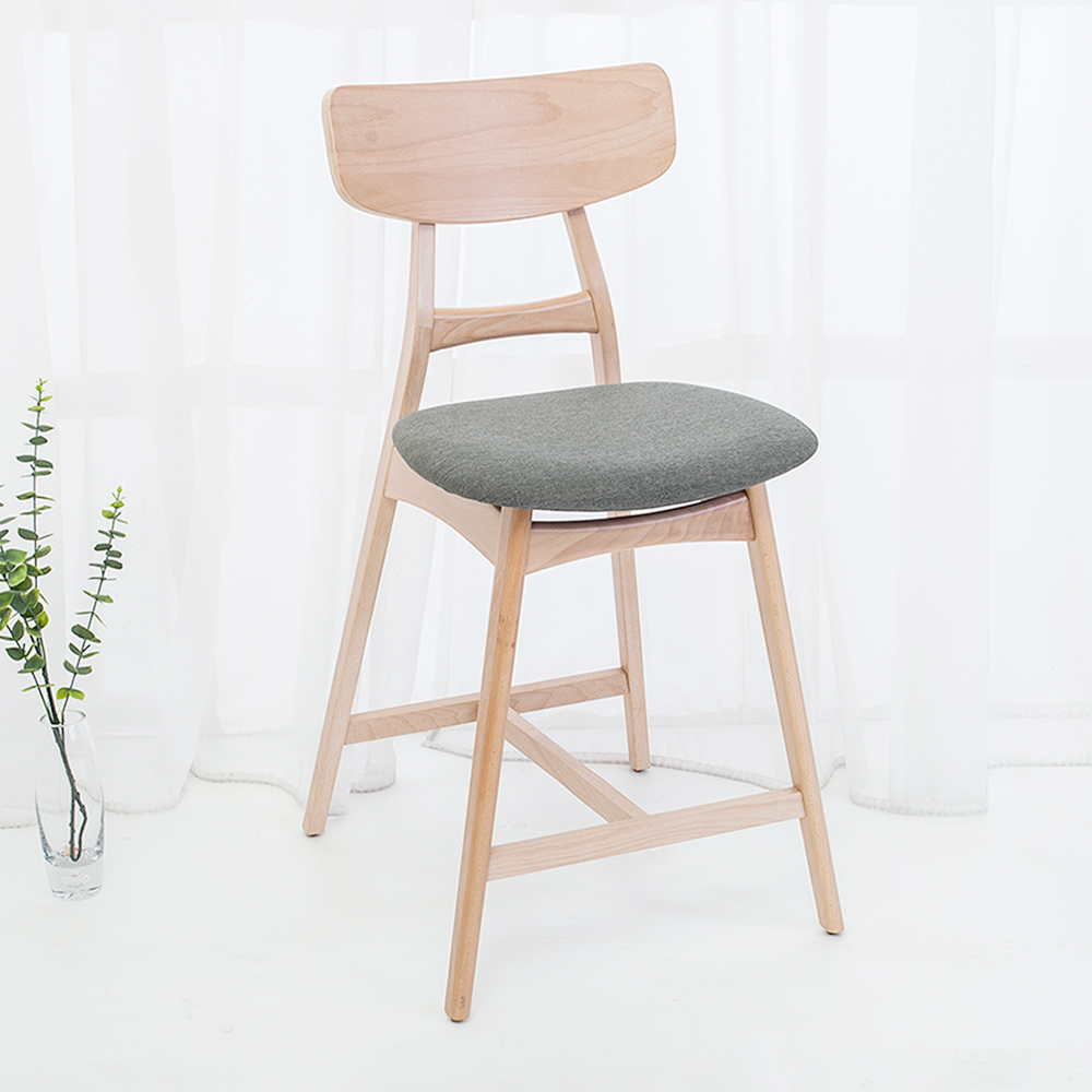 Bernice-瑪卡坦實木吧台椅/吧檯椅/高腳椅(二入組合)-49x59x94cm