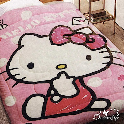 BUTTERFLY-台製-HelloKitty凱蒂貓法蘭絨暖暖被-我的日常-粉