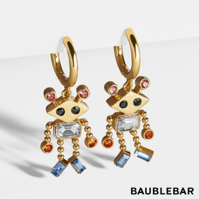 美國 BaubleBar 可愛機器人多彩寶石耳環 r2bb2 Huggie Earrings