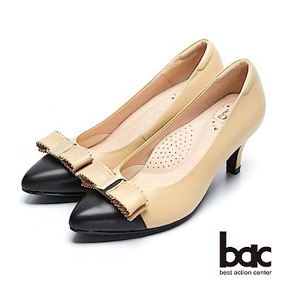 【bac】經典回歸-微深V口點綴鉚釘尖頭高跟鞋