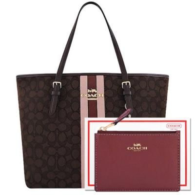 COACH 咖啡色大C織紋托特包/大型+酒紅色防刮皮革鑰匙零錢包