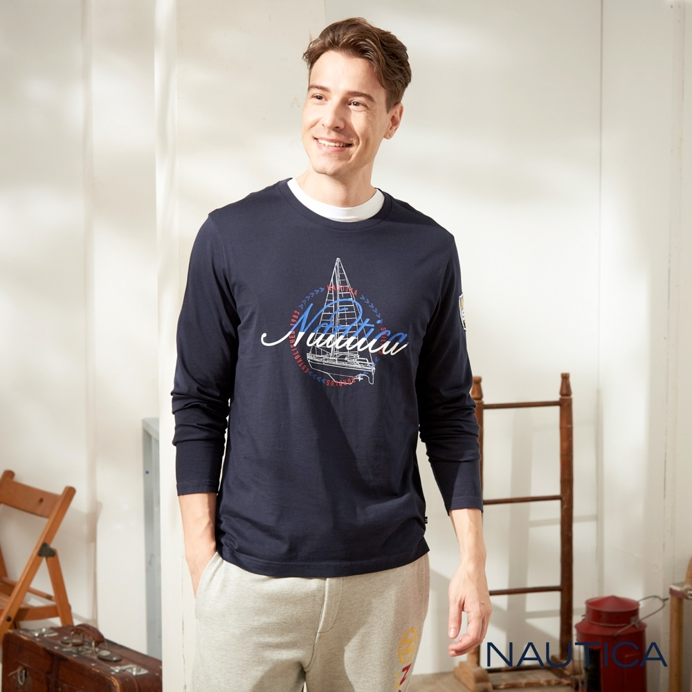 Nautica3D立體船型純棉長袖TEE-深藍