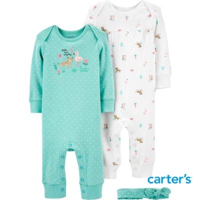 【Carter s】動物點點3件組套裝(6M-9M) (連身裝/配飾)(台灣總代理)