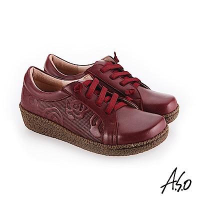 A.S.O 新式復古 舒適柔軟休閒鞋 正紅