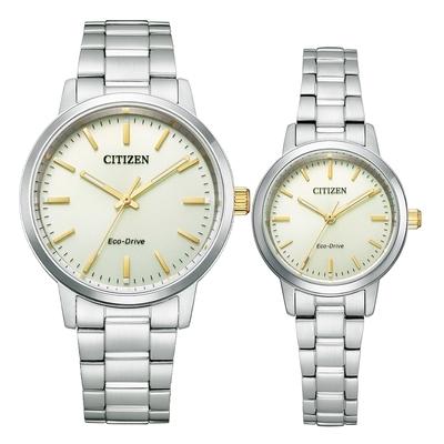 CITIZEN Eco-Drive 極簡風格時尚對錶-銀X金-BJ6541-58P_EM0930-58P
