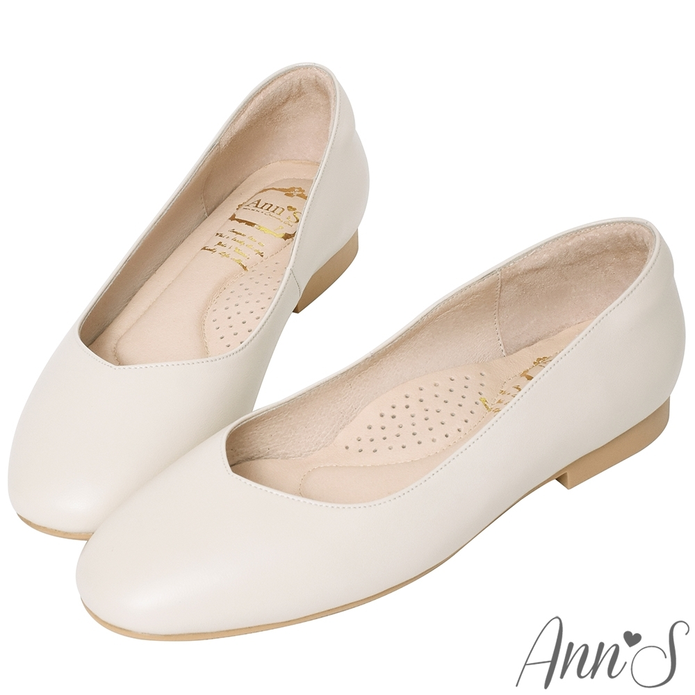 Ann'S奶奶鞋-V型小羊皮真皮方頭平底鞋-米白