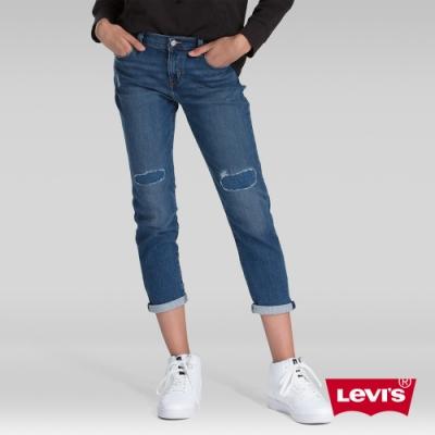 Levis 男友褲 中腰寬鬆版牛仔褲 保暖纖維 內刷毛 破壞縫補 及踝款