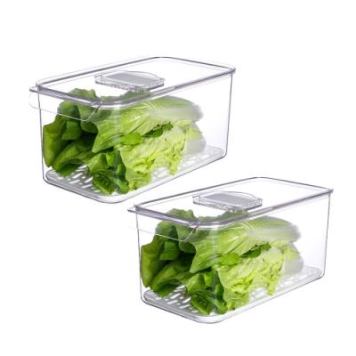 YOUFONE 廚房冰箱透明蔬果收纳瀝水保鮮盒兩件組31.5x16.3x14.5