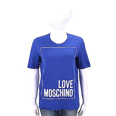 LOVE MOSCHINO 方框字母藍色寬版棉質T恤