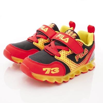 FILA頂級童鞋 賽車電燈鞋款 EI52S-209黑紅(中小童段)