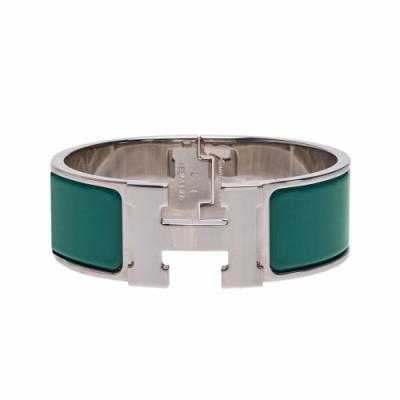 HERMES Clic H LOGO琺瑯中版手環(藍綠X銀)
