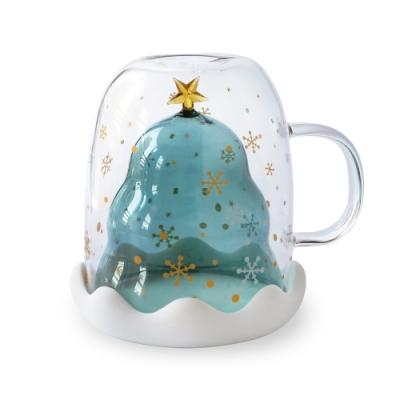【Caldo卡朵生活】耶誕假期雙層耐熱造型玻璃杯