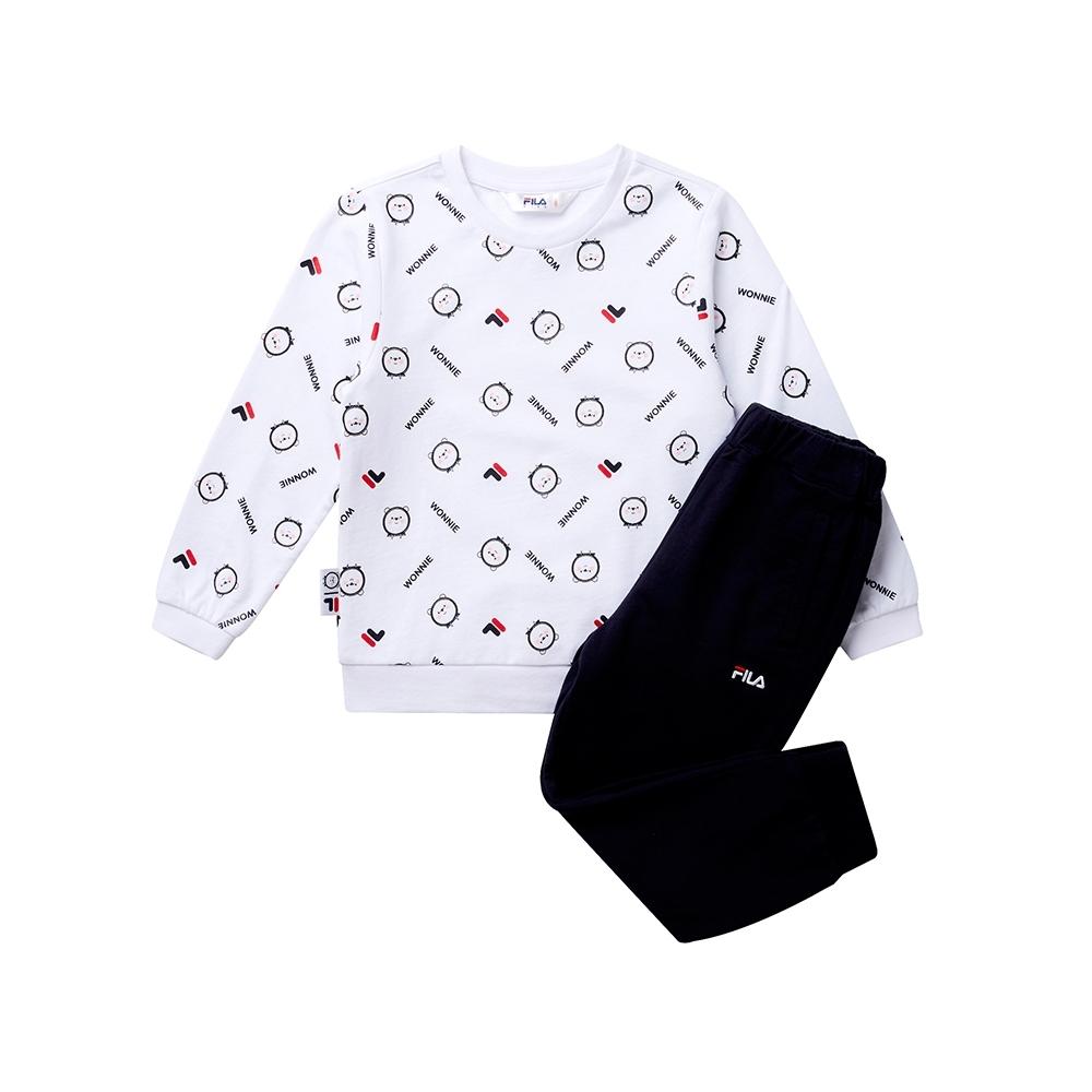 FILA KIDS #WONNIE系列小童圓領套裝-白色 1WTT-8458-WT