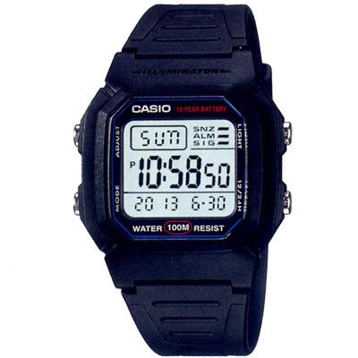 CASIO -10Year黑武士電子錶(W-800H-1A)-黑/36.8mm