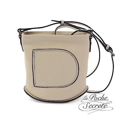 La Poche Secrete 側背包 真皮大D鉚釘水桶包-優雅杏