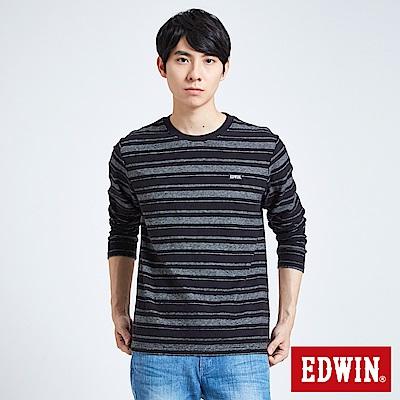 EDWIN 職人手作 反面配條長袖T恤-男-黑色