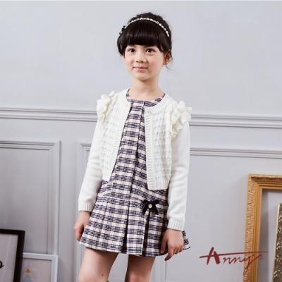 Annys安妮公主可愛學院風格紋蝴蝶結百褶背心洋裝9229米白