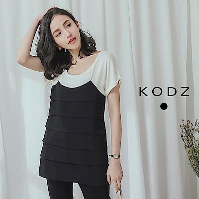 東京著衣-KODZ 清新率性撞色拼接層次上衣-S.M