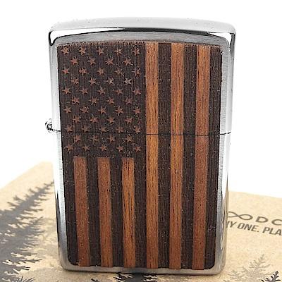 ZIPPO 美系~American Flag-美國國旗圖案-桃花心木貼片打火機