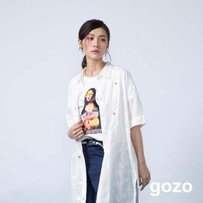 gozo 創意另類名畫系列不規則下擺上衣(白色)