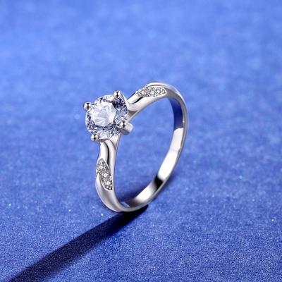 米蘭精品 莫桑鑽戒指925純銀開口戒-1克拉四爪V型微鑲聖誕節情人節生日禮物女飾品2色73yk91