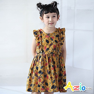 Azio Kids  洋裝 葉子花朵印花荷葉裝飾無袖洋裝(卡其)