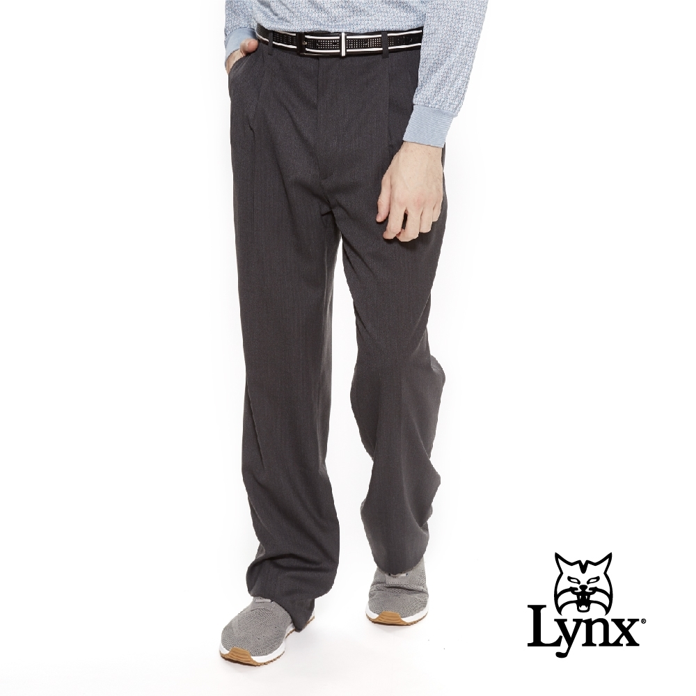 【Lynx Golf】男款歐洲進口布料伸縮腰頭交織斜紋雙折西裝長褲-深灰色