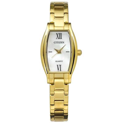 CITIZEN 細緻秀氣珍珠母貝酒桶型不鏽鋼手錶-銀白x鍍金/19mm @ Y!購物
