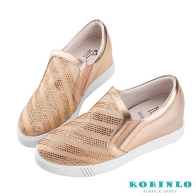 Robinlo 微透鑲鑽斜紋內增高牛皮休閒鞋 玫瑰金色