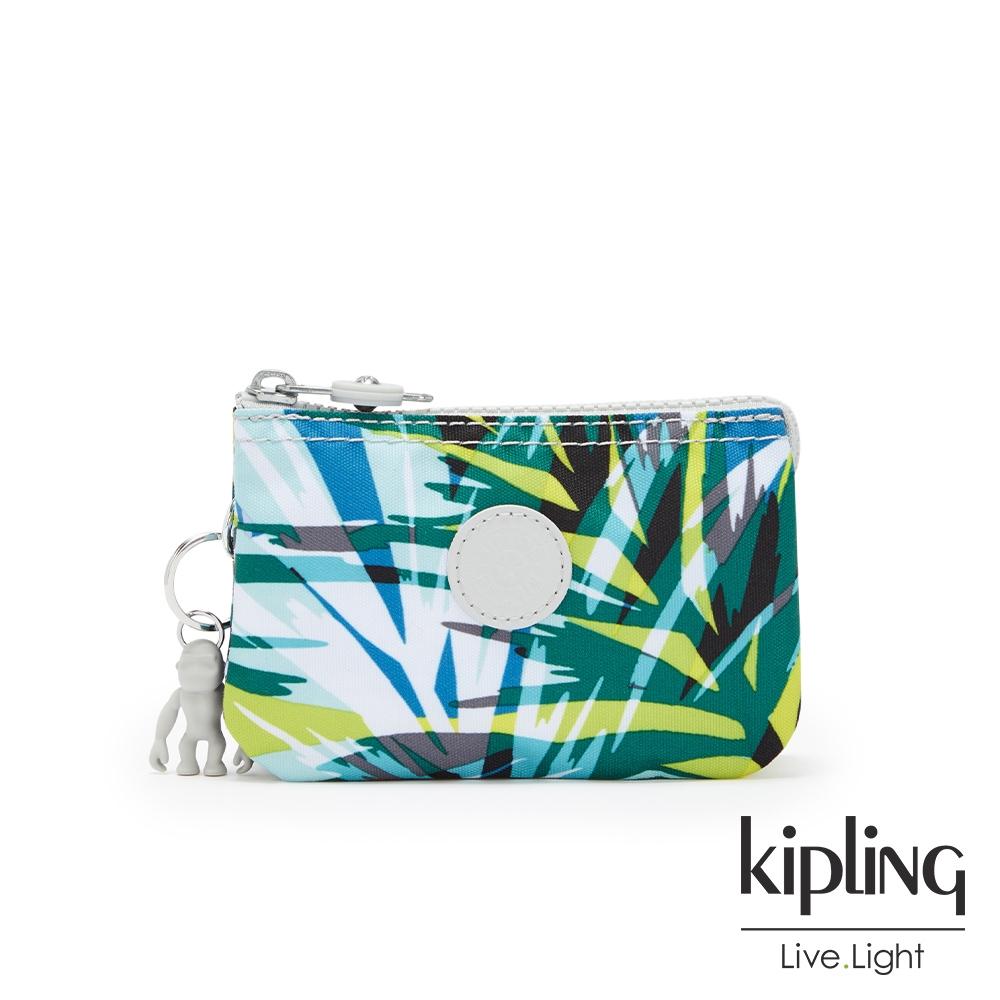 Kipling 手繪棕櫚樹印花三夾層配件包-CREATIVITY S